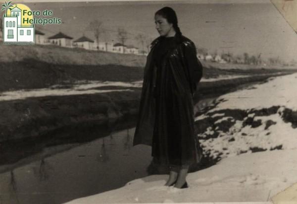 Rosario Noguer, vecina de Heliópolis, nevada de 1954 (cortesía matrimonio De La Prida-Noguer)